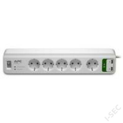 PM5U-GR elosztó 5 aljzat, USB töltő