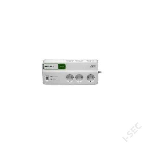 PM6U-GR elosztó 6 aljzat, USB töltő