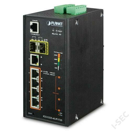 IGS5225 ipari kivitelű 4xPoE, 1xGB, 2SFP port switch